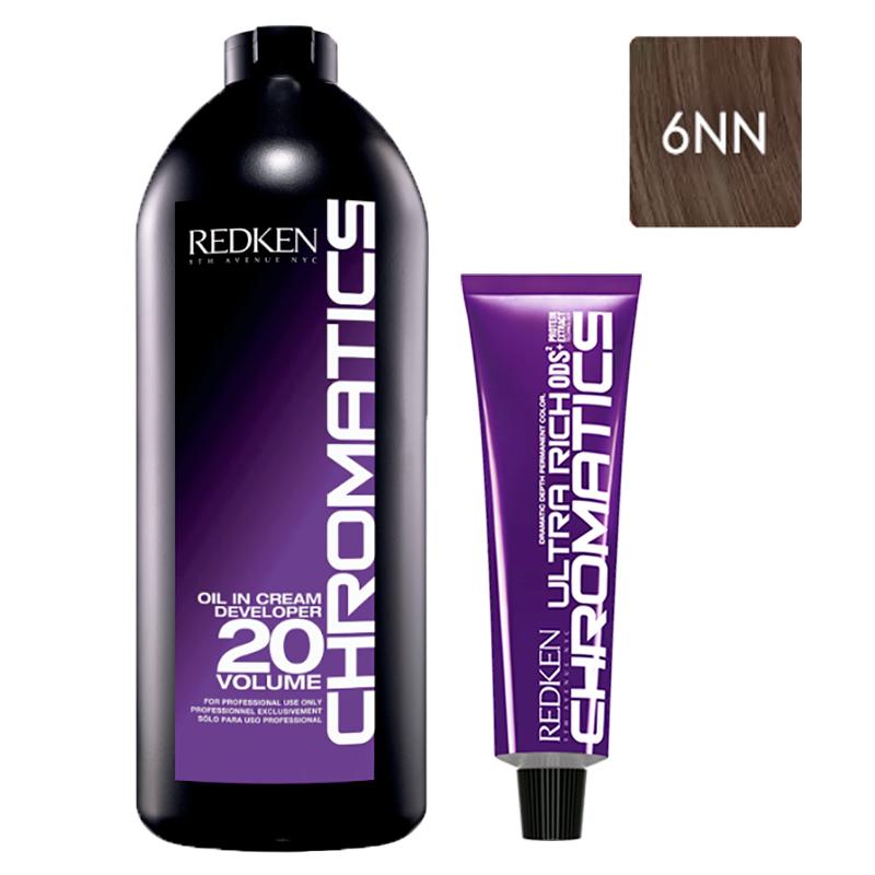 Купить Redken Набор Перманентный краситель Chromatics Ultra Rich в оттенке 6NN, 60 мл + Проявитель крем-масло Chromatics 20 Vol [6%], 1000 мл (Redken, Окрашивание)