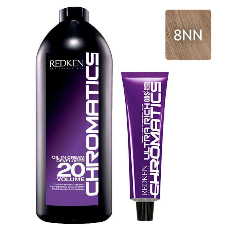Купить Redken Набор Перманентный краситель Chromatics Ultra Rich в оттенке 8NN, 60 мл + Проявитель крем-масло Chromatics 20 Vol [6%], 1000 мл (Redken, Окрашивание)