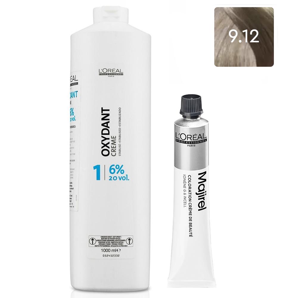 Купить L'Oreal Professionnel Набор Краска для волос Majirel High Resist 9.12, 50 мл + Оксидент-крем 6% (20 Vol.), 1000 мл (L'Oreal Professionnel, Окрашивание)