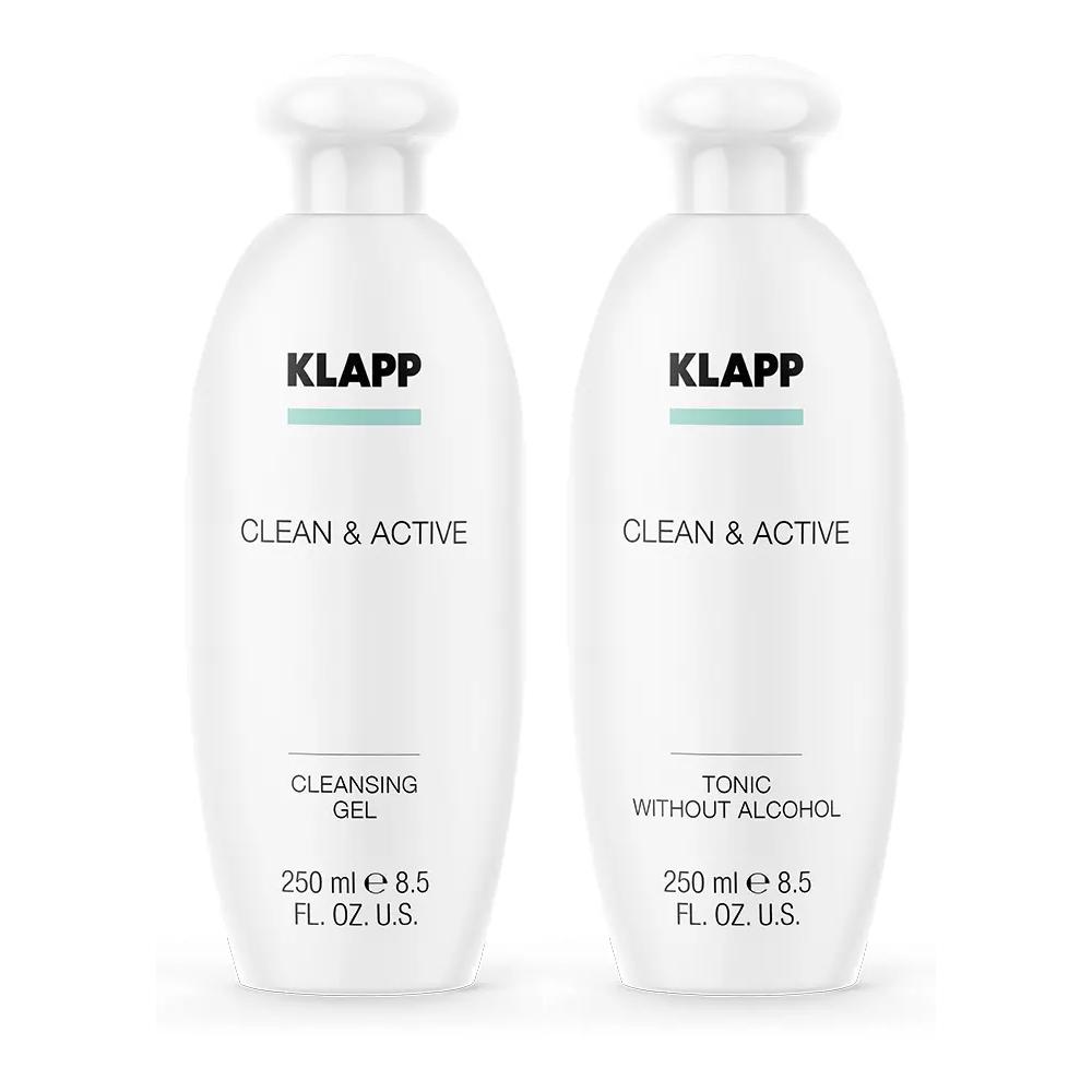 Купить Klapp Набор Бережное очищение : гель 250 мл + тоник 250 мл (Klapp, Clean & active)