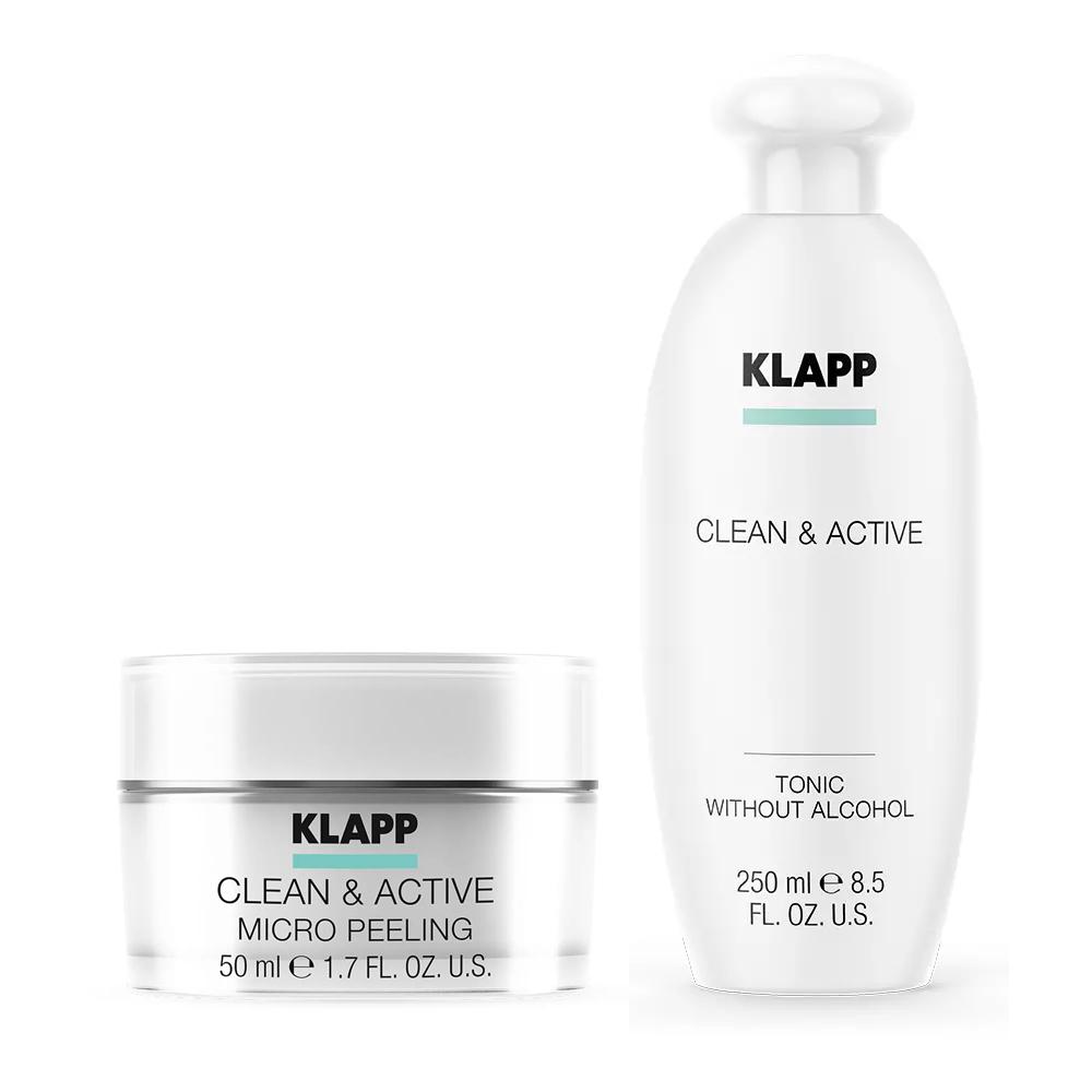 Купить Klapp Набор Интенсивное очищение : микропилинг 50 мл + тоник 250 мл (Klapp, Clean & active)