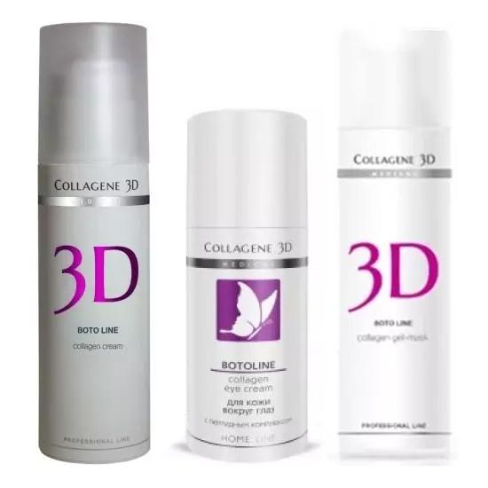 Купить Collagene 3D Набор Коррекция морщин : крем для лица 30 мл + крем для век 15 мл + гель-маска 30 мл (Collagene 3D, Boto)