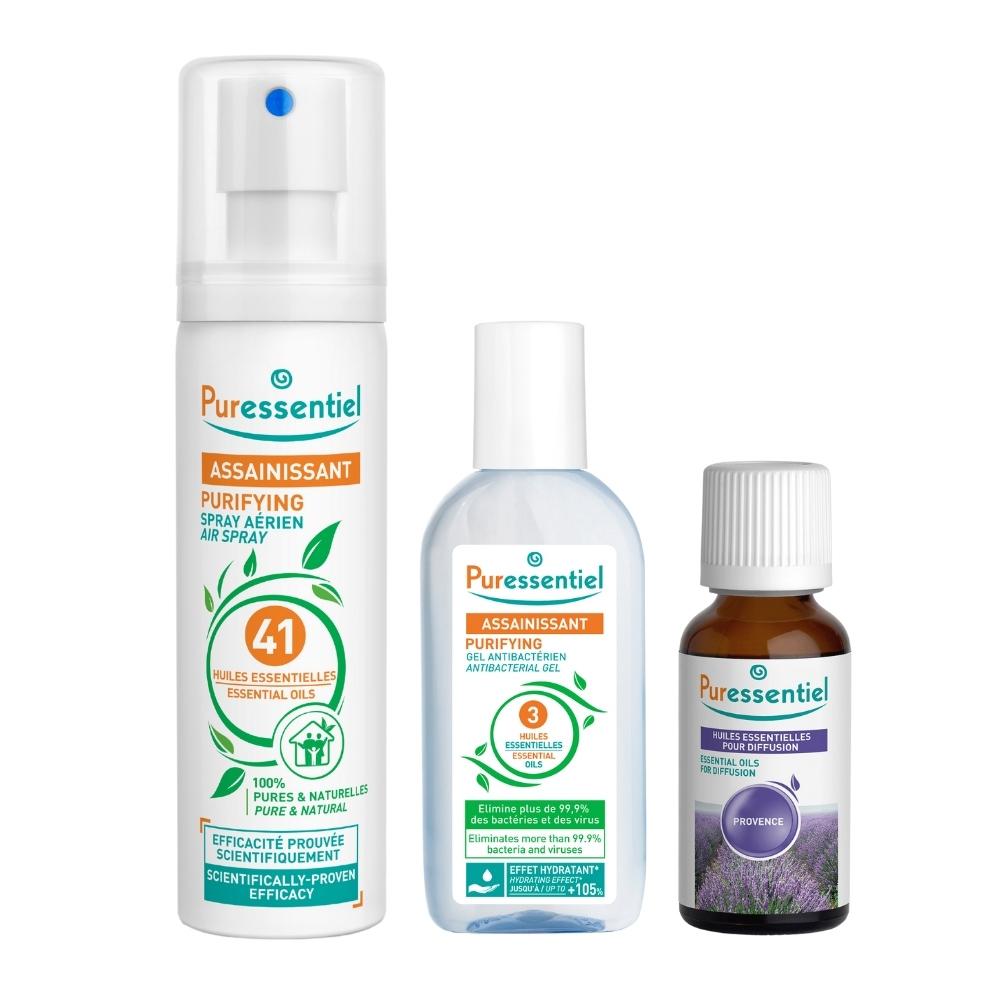 Puressentiel Набор: спрей 75 мл + эфирное масло 30 мл + очищающий гель 80 мл (Puressentiel, )