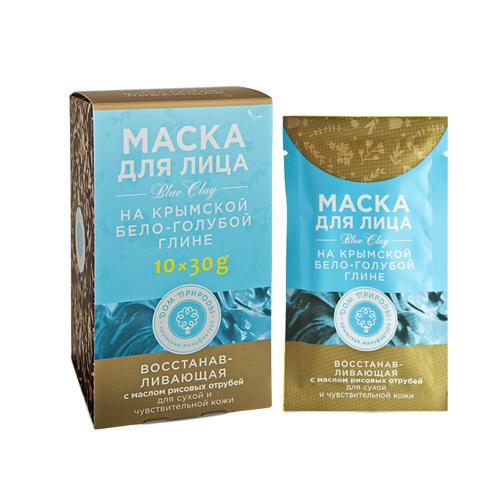 Купить Дом природы Маска восстанавливающая для сухой и чувствительной кожи на основе бело-голубой глины, 30г*10шт (Дом природы, )