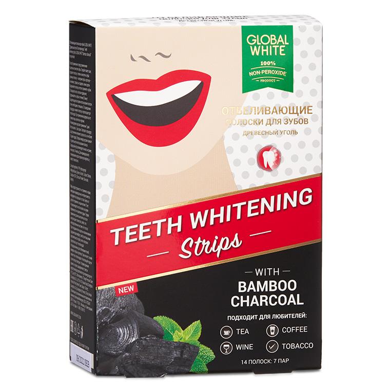 Global White Отбеливающие полоски для зубов «Бамбуковый уголь», 14 шт (Global White, Отбеливание)