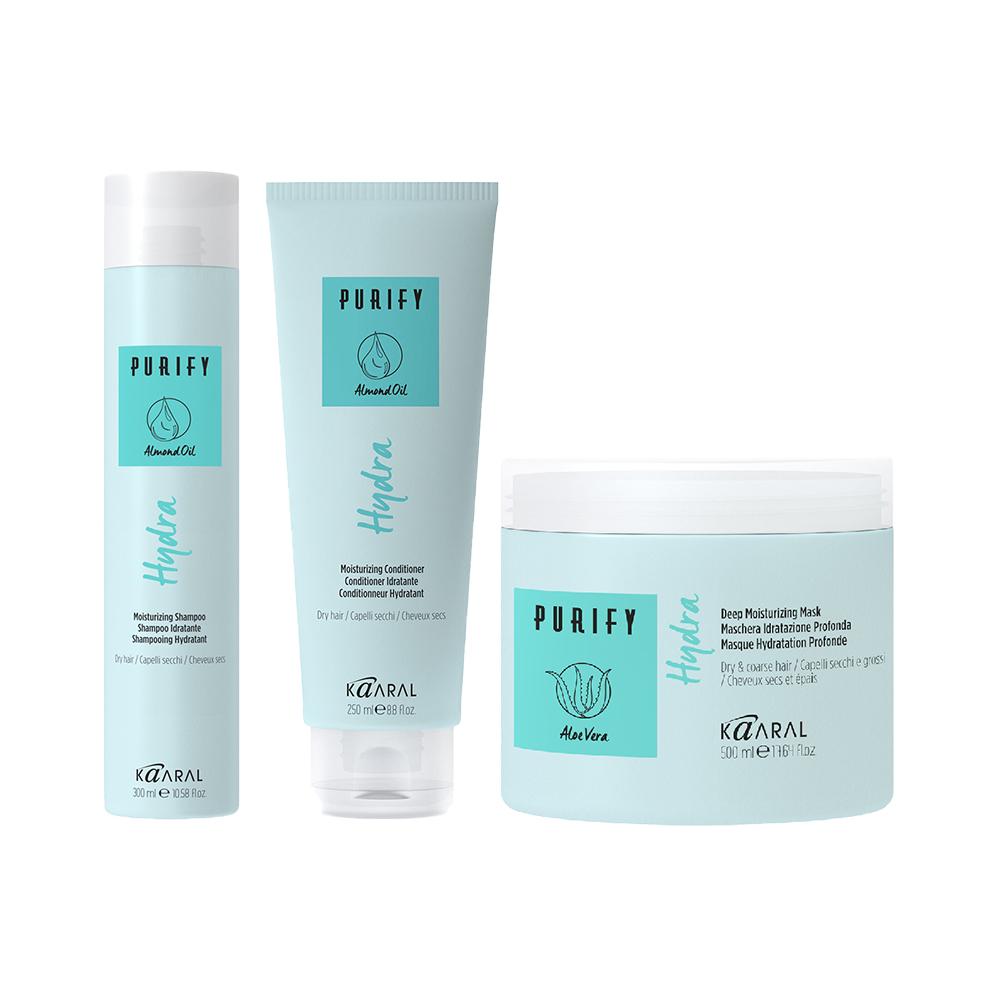 Купить Kaaral Набор для увлажнения сухих волос Purify, Hydra (Шампунь 300 мл + Кондиционер, 250 мл + Маска, 500 мл), 1 шт. (Kaaral, Purify)