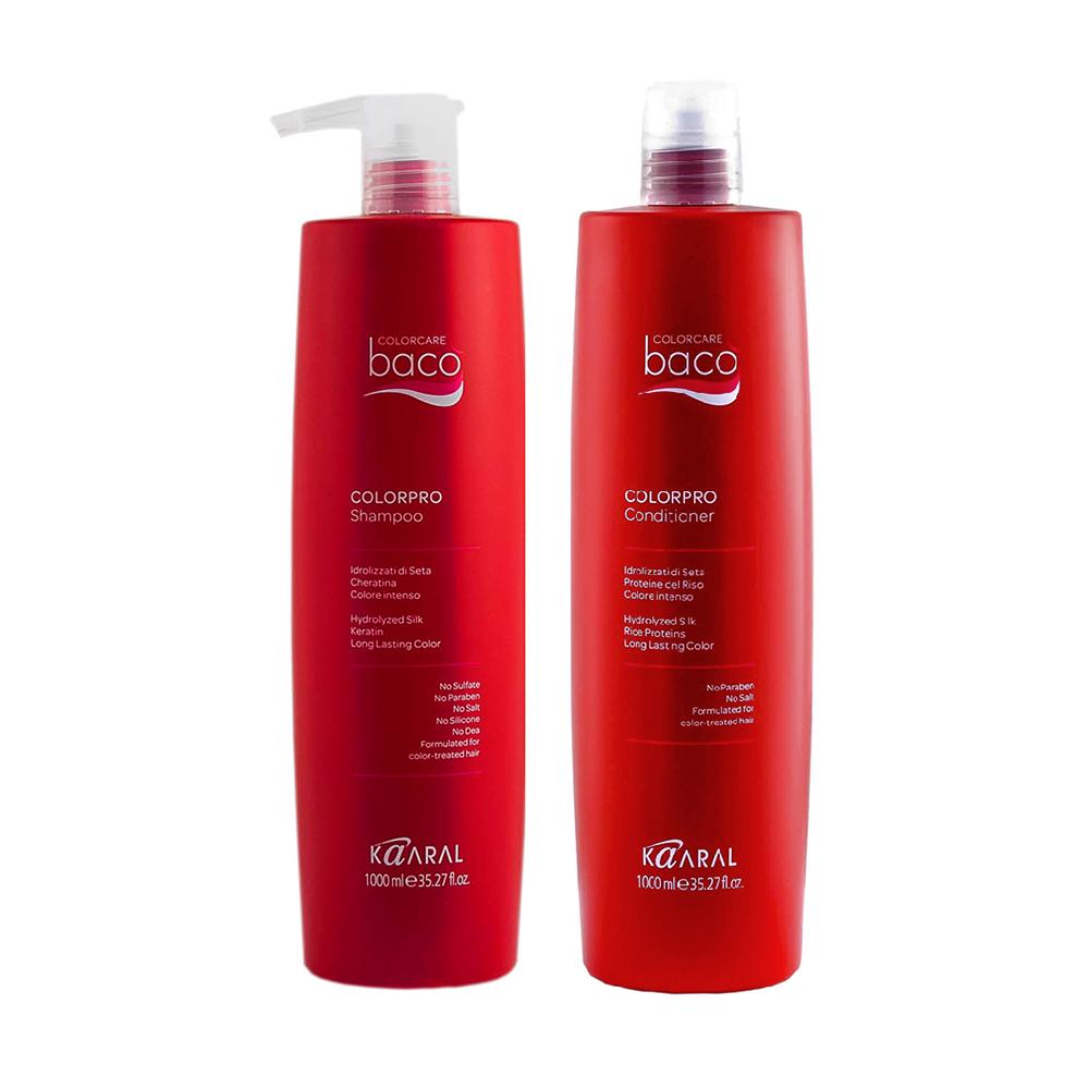 Купить Kaaral Набор для окрашенных волос с гидролизатами шелка и кератином (Шампунь, 1000 мл + Кондиционер, 1000 мл), 1 шт. (Kaaral, Baco)