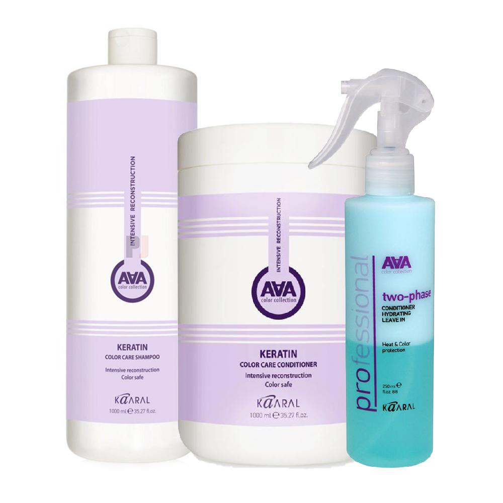 Купить Kaaral Набор ААА для восстановления окрашенных и химически обработанных волос (Шампунь, 1000 мл + Кондиционер, 1000 мл + Спрей, 250 мл), 1 шт. (Kaaral, Кeratin color care AAA)