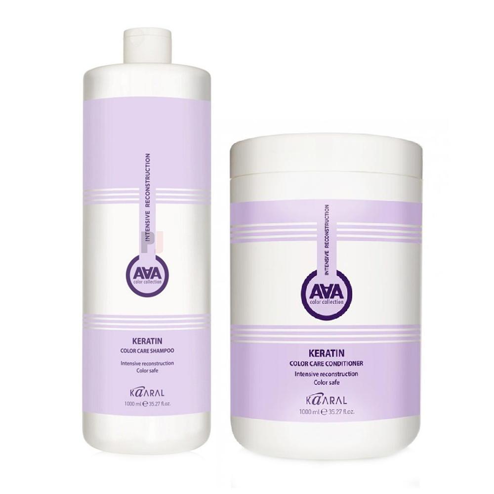 Kaaral Набор ААА для восстановления окрашенных и химически обработанных волос (Шампунь, 1000 мл + Кондиционер, 1000 мл), 1 шт. (Kaaral, Кeratin color care AAA)  - Купить
