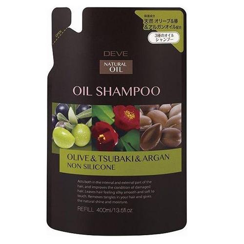 Купить KUMANO COSMETICS Шампунь для сухих волос с 3 видами масел (оливковое, масло камелии и масло арганы) Deve Oil Shampoo Olive & Tsubaki & Argan cменный блок, 400 мл (KUMANO COSMETICS, Шампуни для волос)