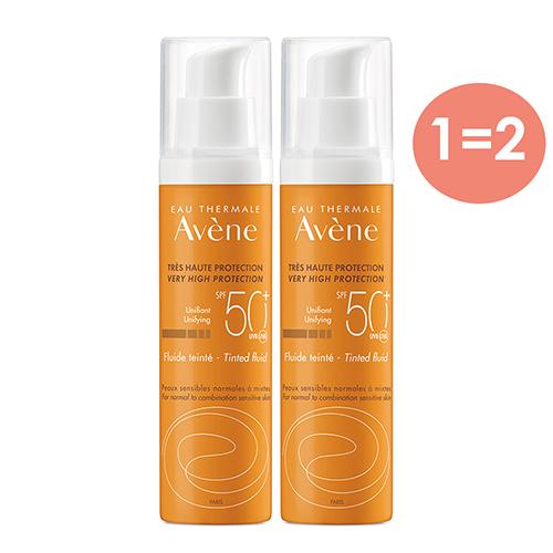 Купить Avene Солнцезащитный флюид с тонирующим эффектом SPF 50, 2*50 мл (Avene, Suncare)