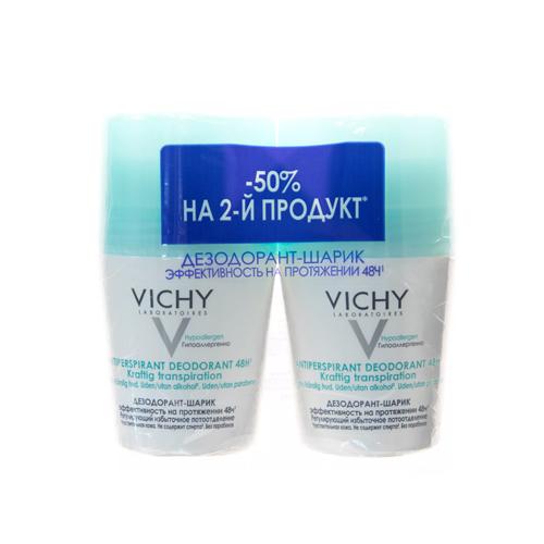 Купить Vichy Дуопак Дезодорант 48 ч против избыточного потоотделения, 50 мл х 2 шт. (Vichy, Deodorant)