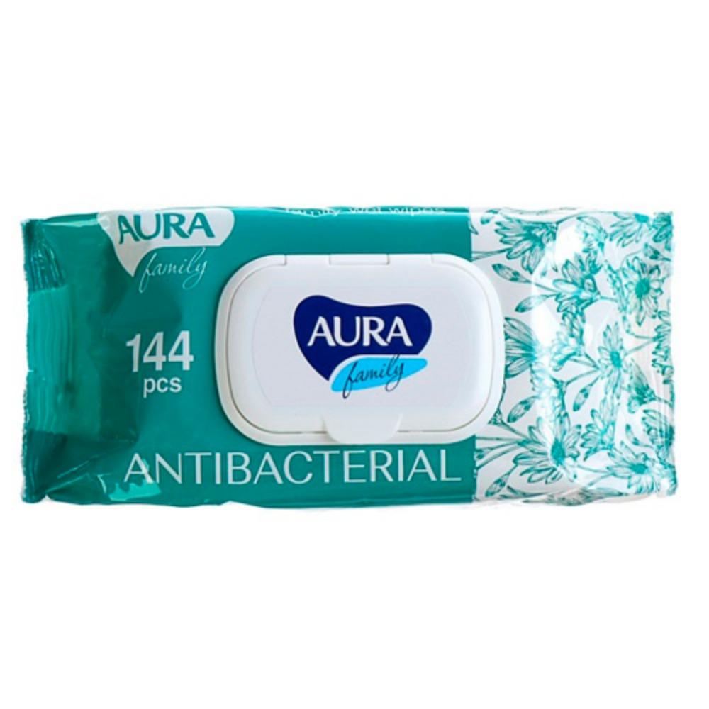 Купить Aura Влажные салфетки с антибактериальным эффектом big-pack с крышкой для всей семьи, 144 шт. (Aura, Влажные салфетки)