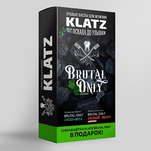 Купить Klatz Набор для мужчин: Зубная паста Супер-мята, 75 мл + Зубная паста Бешеный имбирь, 75 мл + Зубная щетка жесткая (Klatz, Brutal Only)