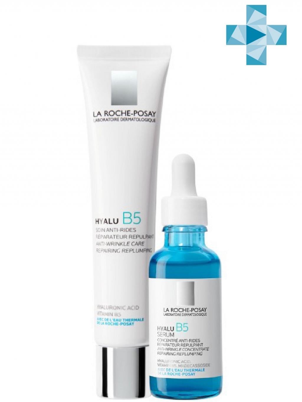 Купить La Roche-Posay Набор для кожи, склонной к возрастным изменениям (Увлажняющий уход против морщин, 40 мл + Увлажняющая сыворотка, 30 мл) (La Roche-Posay, Hyalu B5)