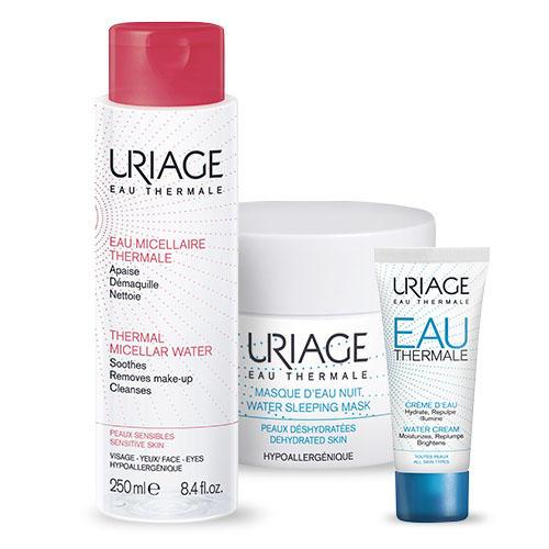 Купить Uriage Набор Eau thermale (Легкий увлажняющий крем, 40 мл + Ночная маска, 50 мл + Мицеллярная вода, 250 мл) (Uriage, Eau thermale)