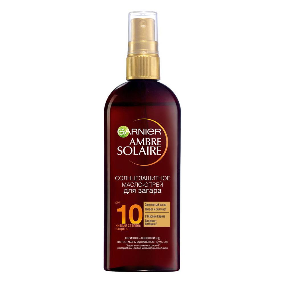 Garnier Водостойкое солнцезащитное масло-спрей для загара SPF10, 150 мл (Garnier, Ambre Solaire)