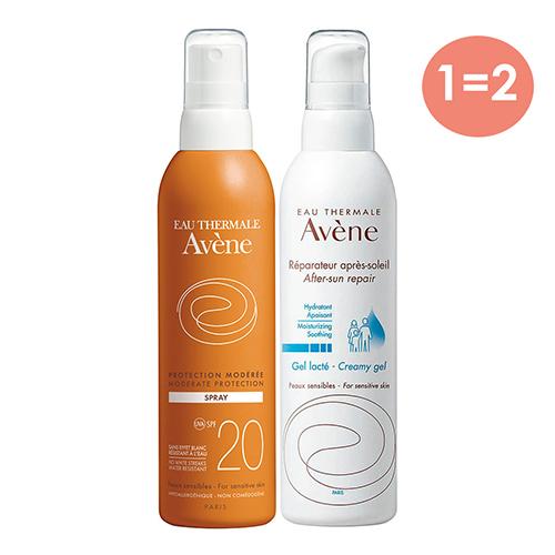 Купить Avene Набор для защиты от солнца (Солнцезащитный спрей SPF20, 200 мл + Крем-гель восстанавливающий после солнца, 200 мл) (Avene, Suncare)