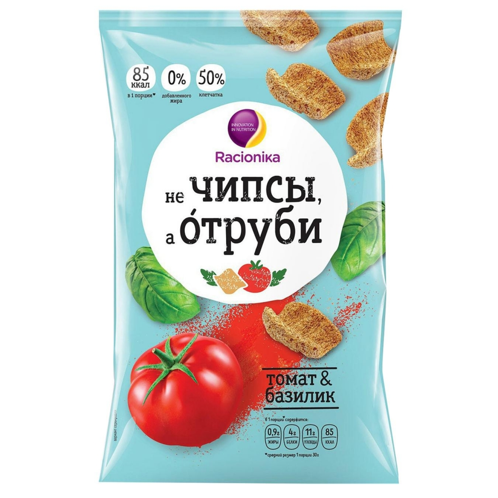 Racionika Отруби хрустящие, томат и базилик, 90 г (Racionika, )
