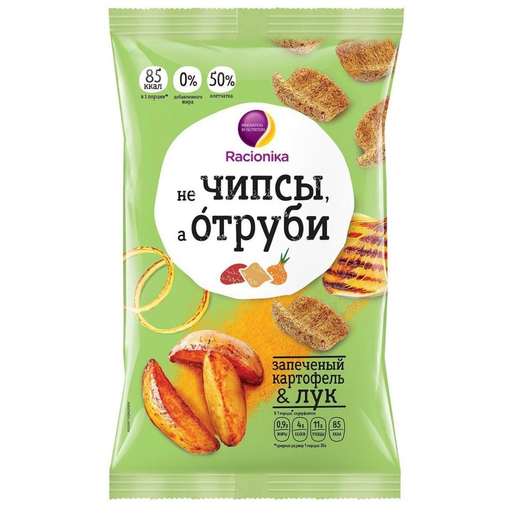 Racionika Отруби хрустящие, запечённый картофель и лук, 90 г (Racionika, )
