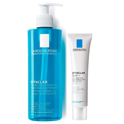 La Roche-Posay Набор Effaclar (Корректирующий крем-гель для проблемной кожи ДУО[+], 40 мл + Очищающий гель, 400 мл) (La Roche-Posay, Effaclar)