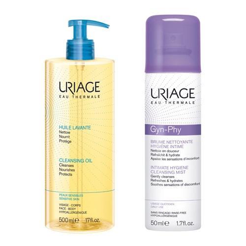 Uriage Набор для гигиены (Очищающее пенящееся масло, 500 мл + Очищающая дымка-спрей для интимной гигиены, 50 мл) (Uriage, Интимная гигиена)
