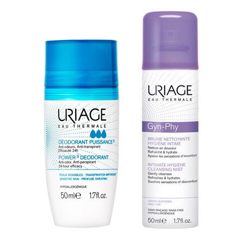 Uriage Набор для гигиены (Роликовый дезодорант тройного действия, 50 мл + Очищающая дымка-спрей для интимной гигиены Жин-Фи, 50 мл) (Uriage, Гигиена Uriage)