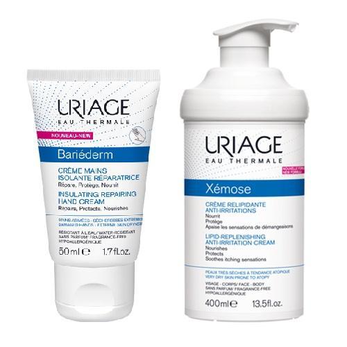 Купить Uriage Набор для ухода за сухой кожей (Изолирующий восстанавливающий крем для рук, 50 мл + Крем липидовосстанавливающий, 400 мл) (Uriage, )