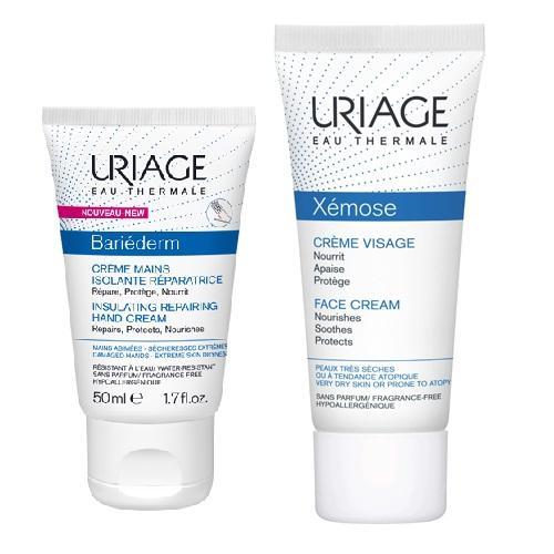 Купить Uriage Набор для ухода за сухой кожей лица и рук (Изолирующий восстанавливающий крем для рук, 50 мл + Крем для лица, 40 мл) (Uriage, Bariederm)