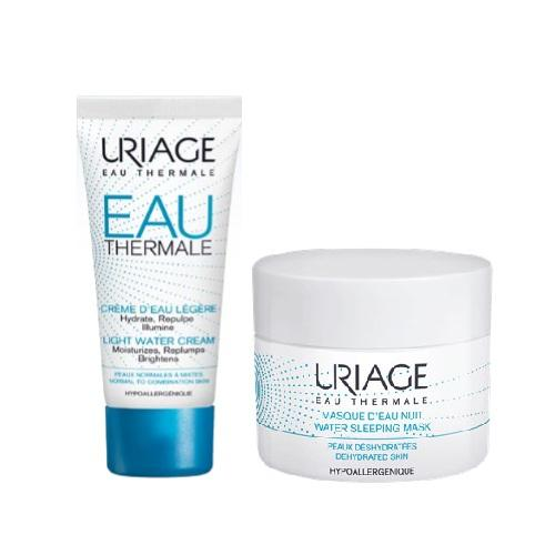 Купить Uriage Набор для увлажнения кожи Eau thermale (Легкий увлажняющий крем, 40 мл + Ночная увлажняющая маска, 50 мл (Uriage, Eau thermale)
