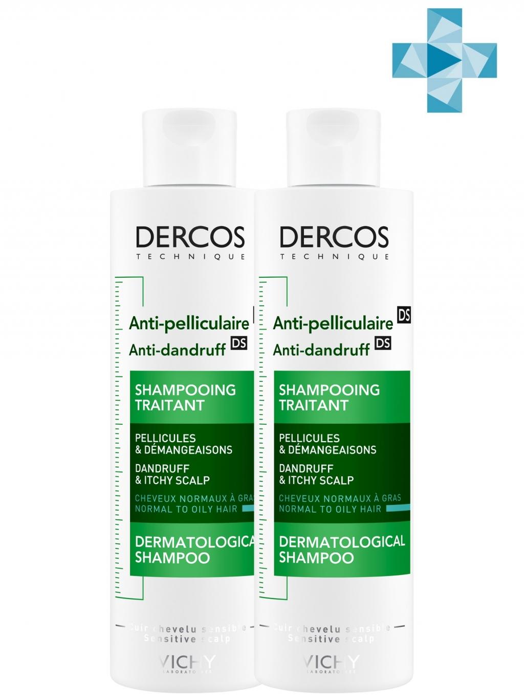 Купить Vichy Комплект Деркос Шампунь против перхоти для жирной кожи головы, 2х200 мл (Vichy, Dercos)