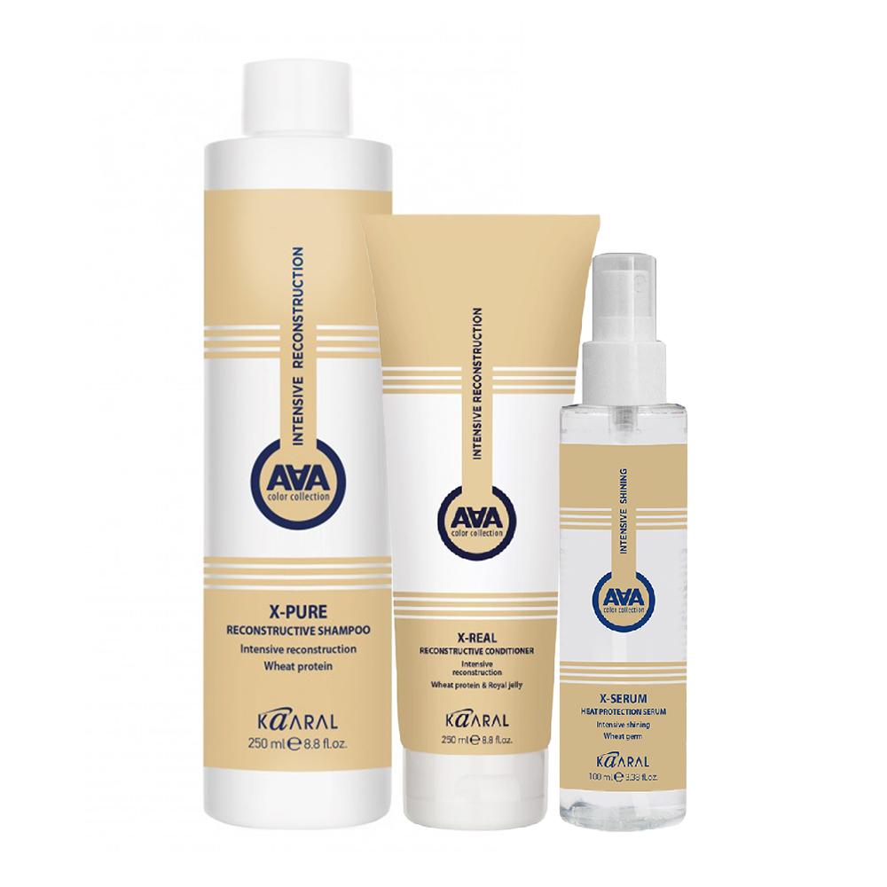 Купить Kaaral Набор X-Form для глубокого восстановления волос (Шампунь, 250 мл + Кондиционер, 250 мл + Сыворотка, 100 мл), 1 шт. (Kaaral, X-Form)