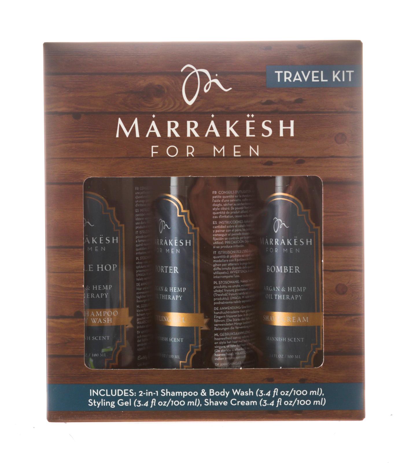 Купить Marrakesh Дорожный набор для мужчин Travel Kit (шампунь 100 мл + крем для бритья 100 мл + гель для укладки 100 мл) (Marrakesh, For men)