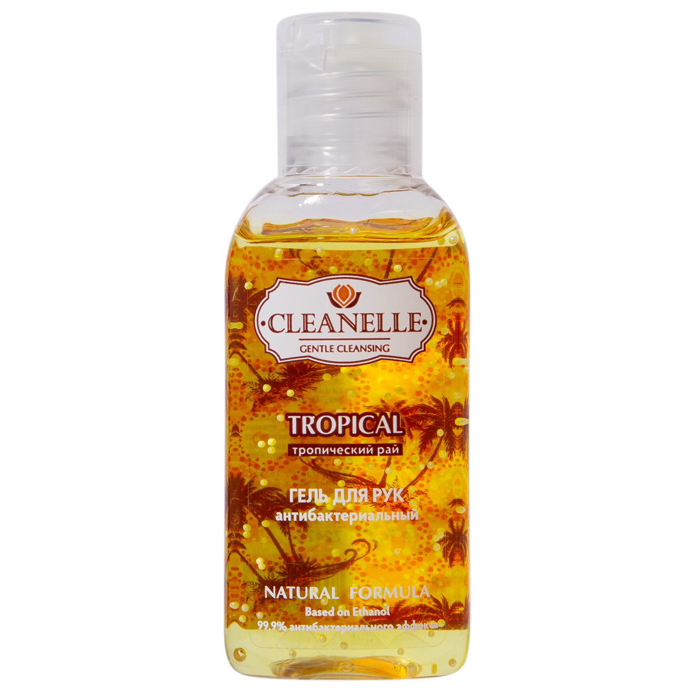 Дезинфицирующие средства Гель для рук антибактериальный Cleanelle Тропический рай, с гранулами, 60 мл (Дезинфицирующие средства, )